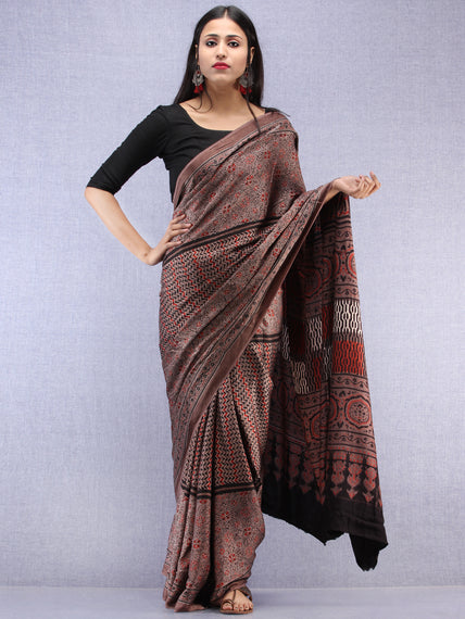 Kashish Beige Black Ajrakh Hand Block Printed Modal Silk Saree - S031704450