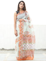 White Orange Green Hand Block Printed Kota Doria Saree  - S031704114