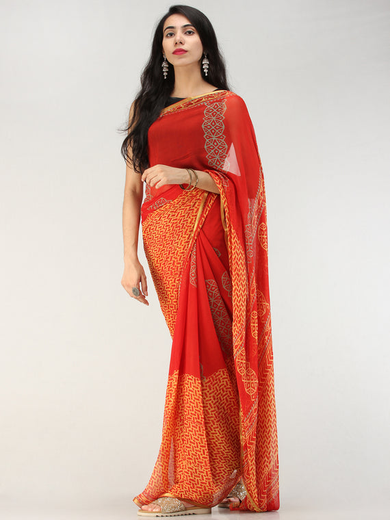 Red Yellow Hand Block Printed Chiffon Saree with Zari Border - S031704559