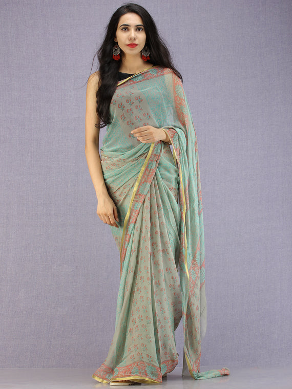 Pastel Green Coral Hand Block Printed Chiffon Saree with Zari Border - S031704590