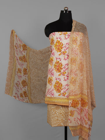 Ivory Yellow Pink Hand Block Printed Cotton Suit-Salwar Fabric With Chiffon Dupatta (Set of 3) - S16281284