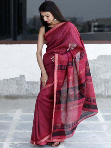 Pink Black Bagh Hand Block Printed Maheswari Silk Saree With Resham Border - S031703833