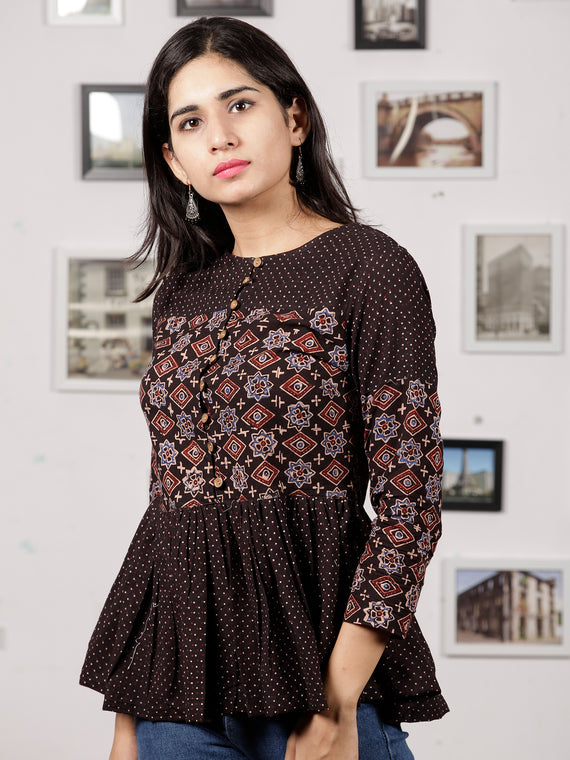 Black Maroon Beige Ajrakh Hand Block Printed Cotton Top - T29F1605