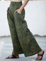 Green Yellow Maroon Ajrakh Hand Block Printed Semi Elasticated Waist Pleated Cotton Palazzo - P11F1690