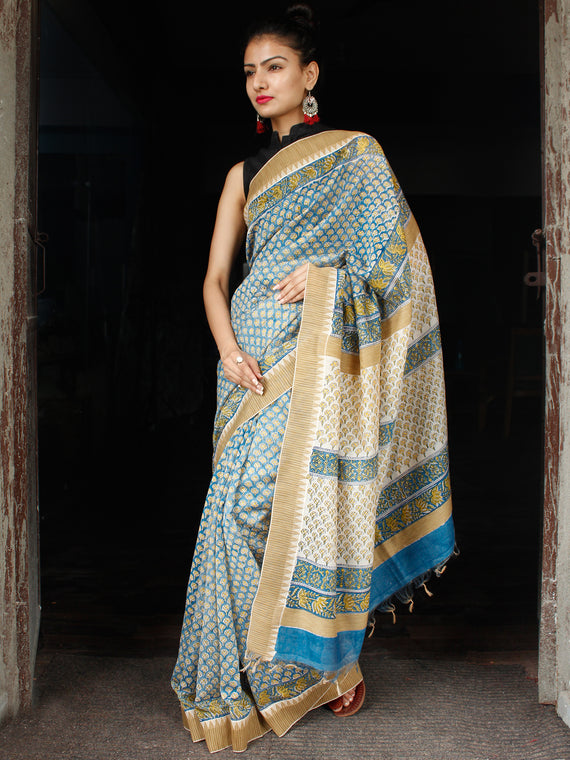 Teal Blue Yellow Chanderi Silk Hand Block Printed Saree With Geecha Border - S031703614