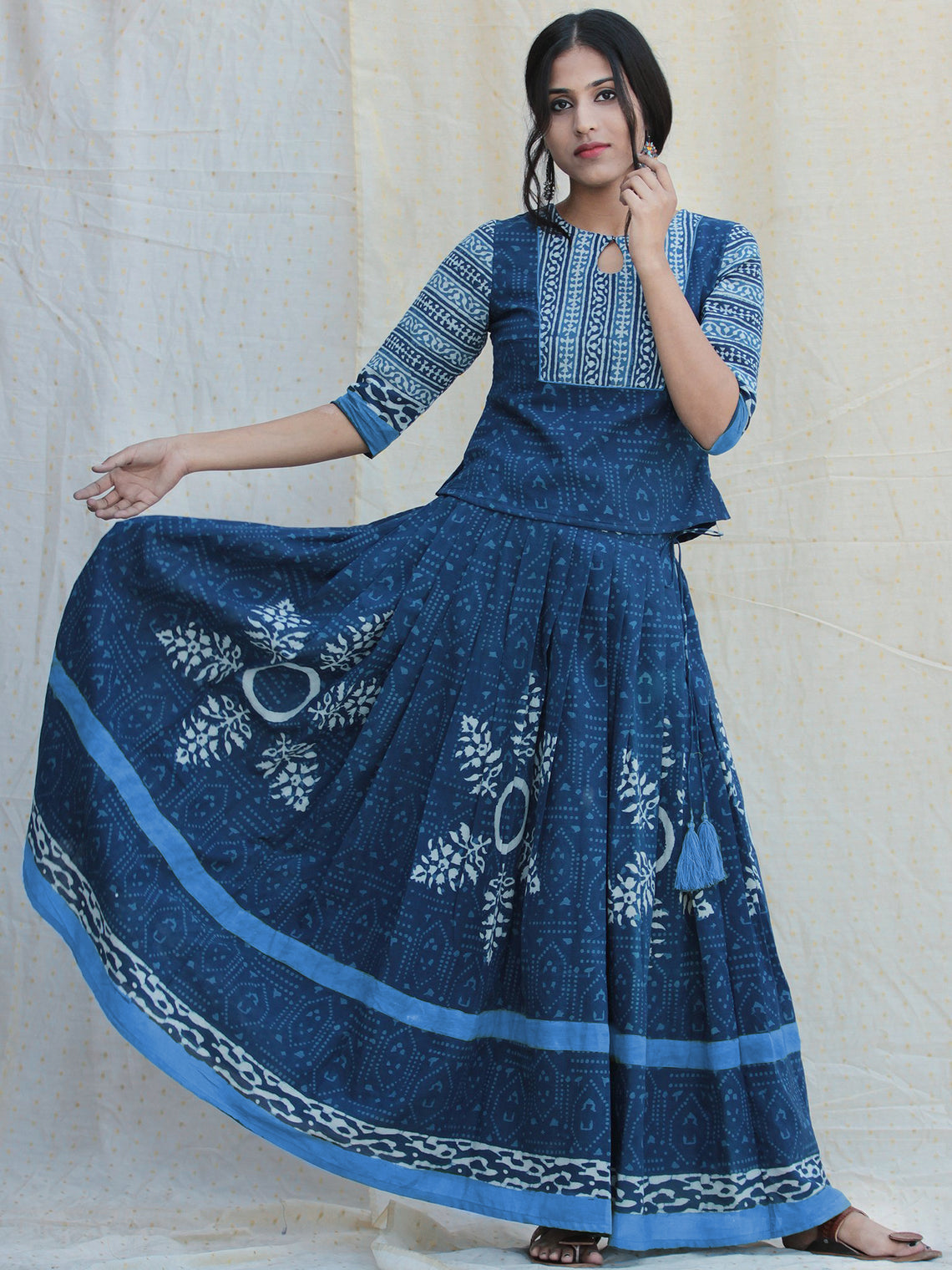 Naaz Rukshaar - Hand Block Printed Long Top And Skirt Dress - DS79F002