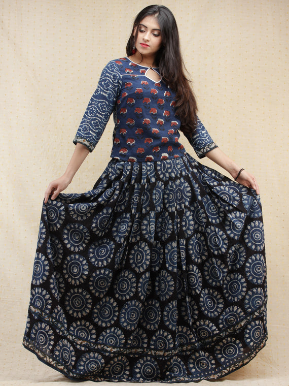 Naaz Lubena - Hand Block Printed Long Top And Skirt Dress - DS85F001