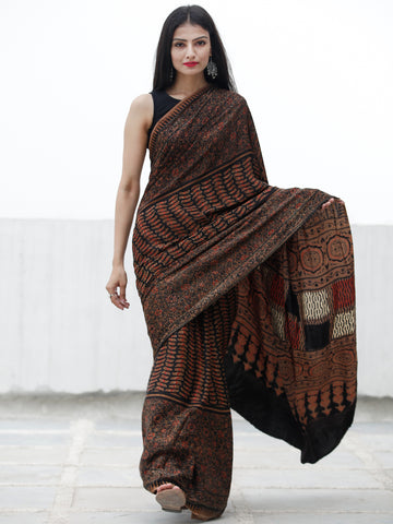 Coffee Brown Black Red Ivory Ajrakh Hand Block Printed Modal Silk Saree in Natural Colors - S031703701