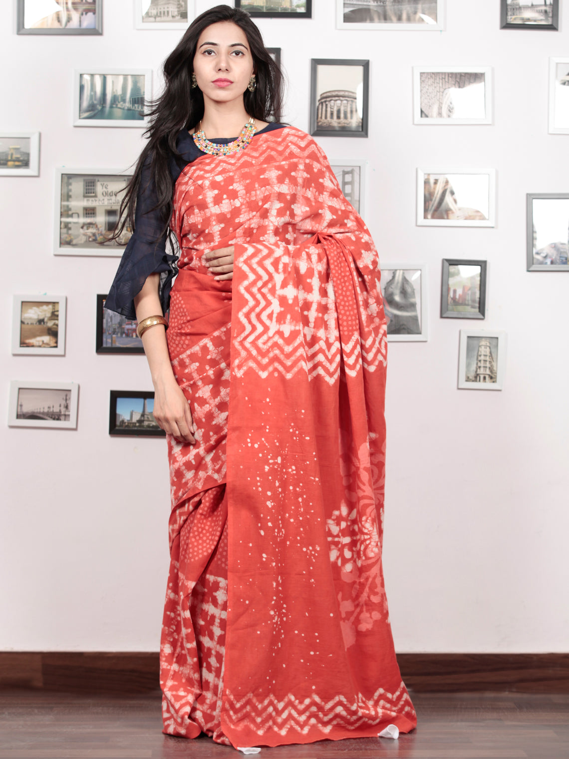 Red Ivory Hand Block Printed Cotton Mul Saree With Tassels - S031703022