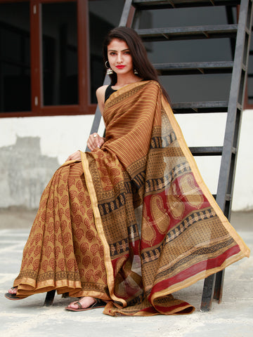 Brown Maroon Black Bagh Hand Block Printed Maheswari Silk Saree - S031703824