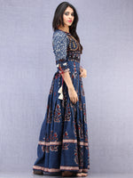 Naaz Tirana - Hand Block Mughal Printed Long Cotton Embroidered Dress - DS104F001