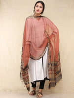 Beige Red Black Kota Silk Hand Block Printed Dupatta - D04170775