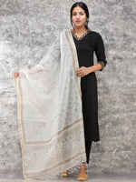White Gold Kota Silk Hand Block Painted Dupatta - D04170778