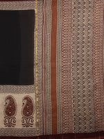 Black Brown Bagru Hand Block Printed and Dyed Chanderi Saree - S03170154