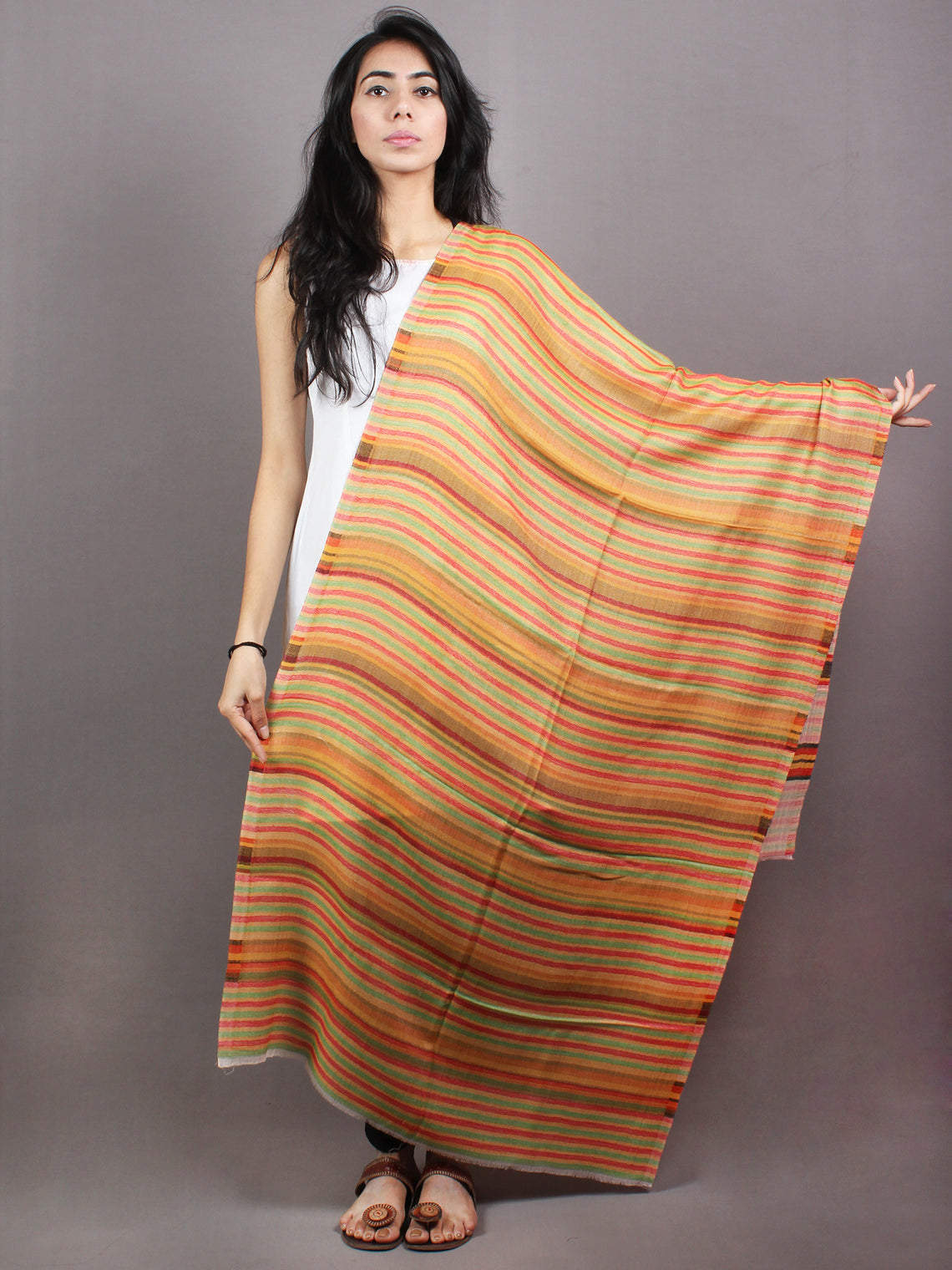 Yellow White Red Pure Wool Reversible Lining Weaved Cashmere Stole from Kashmir - S6317118