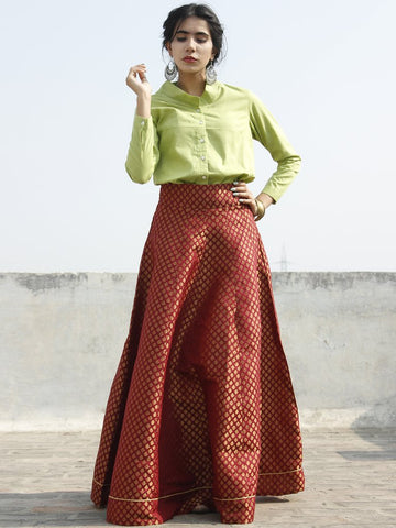 Maroon Golden Brocade Long Skirt - S40F127