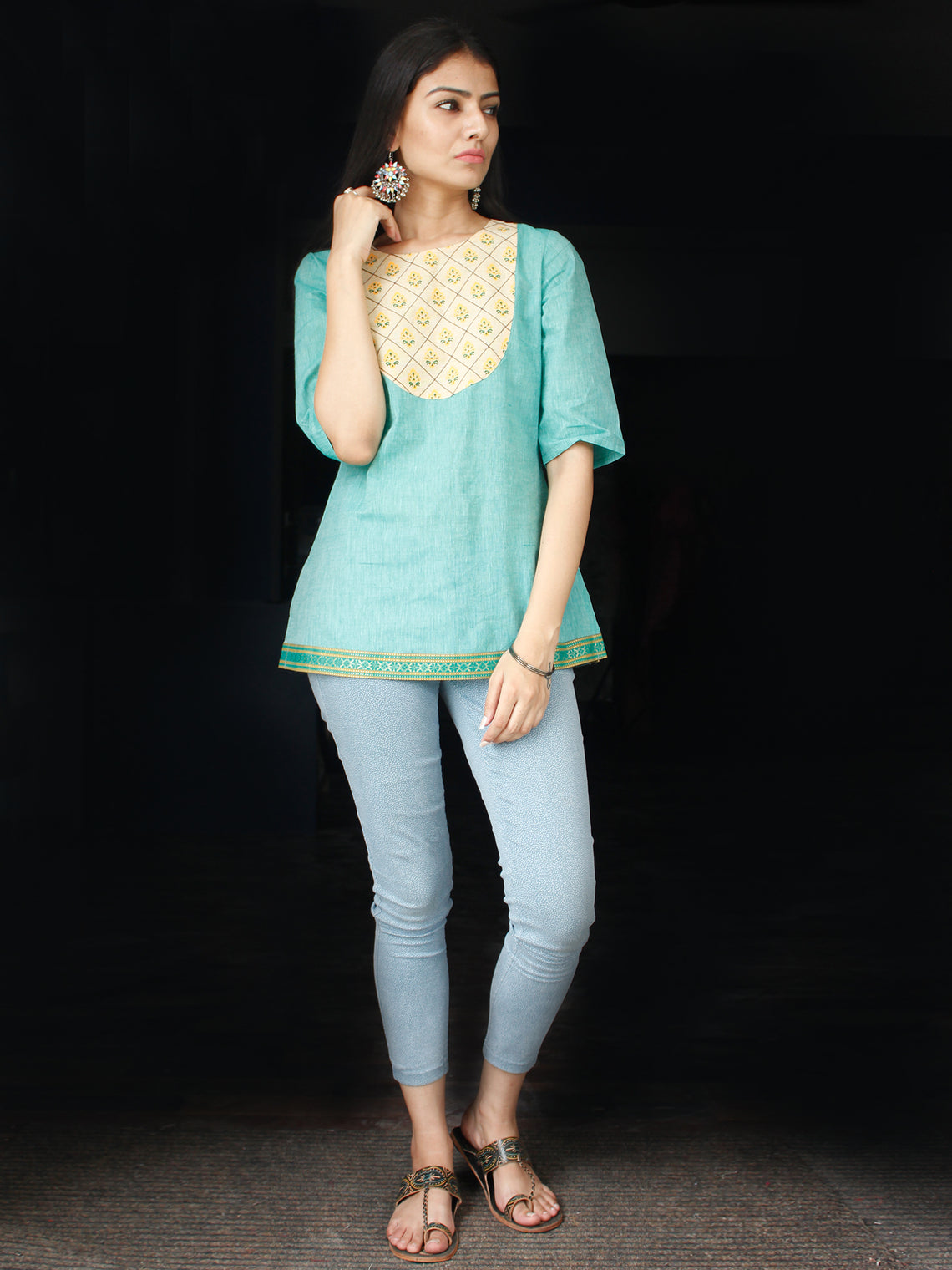 Sea Green South Handloom Cotton Top With  Zari Border - T44FXXX
