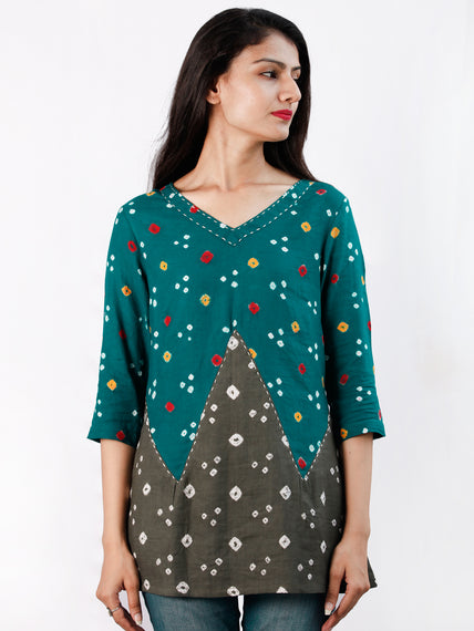 Dark Green Grey Bandhani Glace Cotton Top With Kantha Work  - T57FXXX