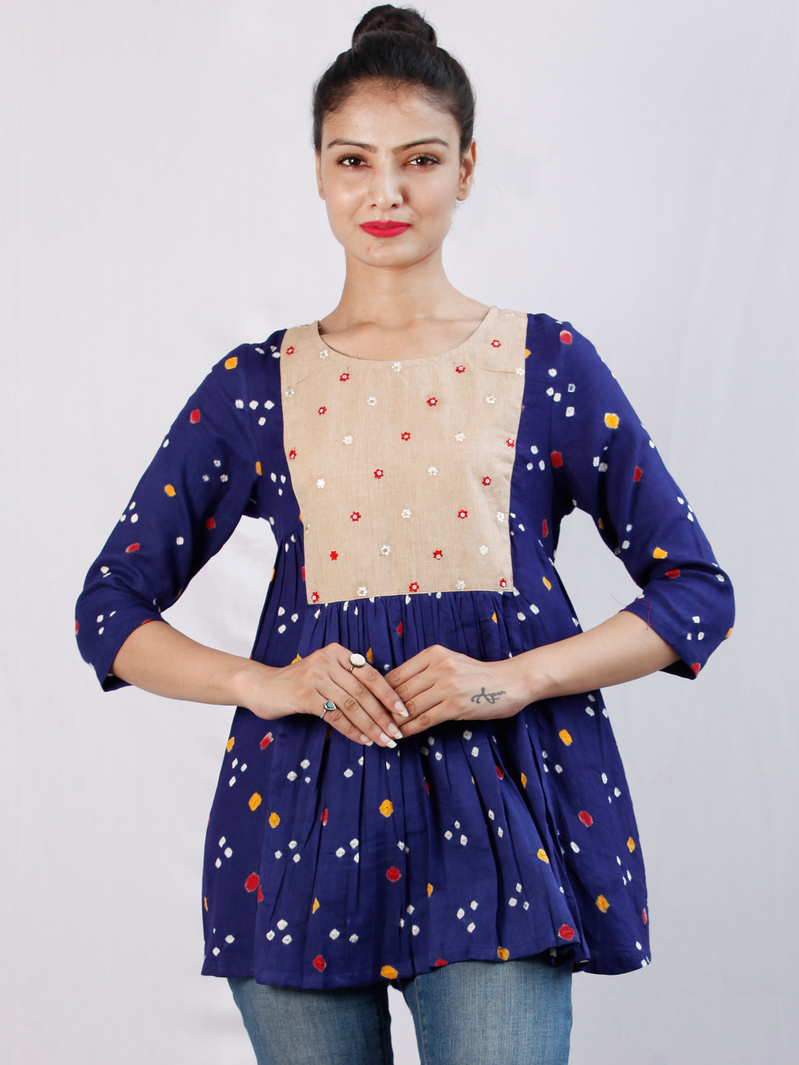 Purple Beige Bandhani Glace Cotton Top With Embroidery - T50FXXX