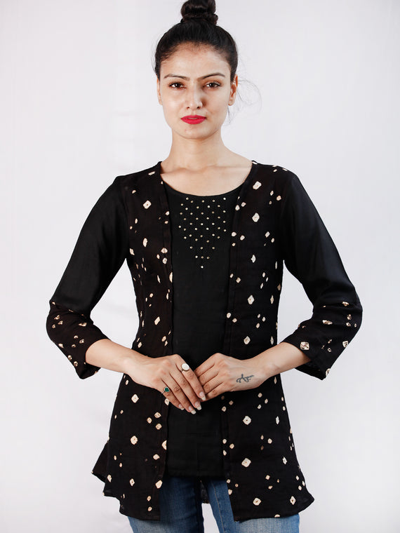 Black Bandhani Glace Cotton Top With Sequence Embroidery  - T53FXXX