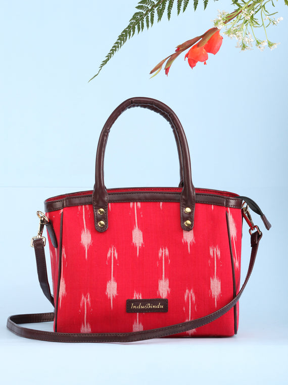 Red Ikat & Vegan Leather Bucket Style Hand Bag - B1501