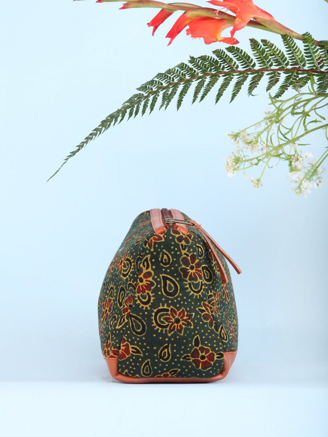 Green Red Ajrakh Hand Block Printed Utility Bag - B1601