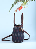Navy OffWhite Ikat & Vegan Leather Bucket Style Hand Bag - B1502