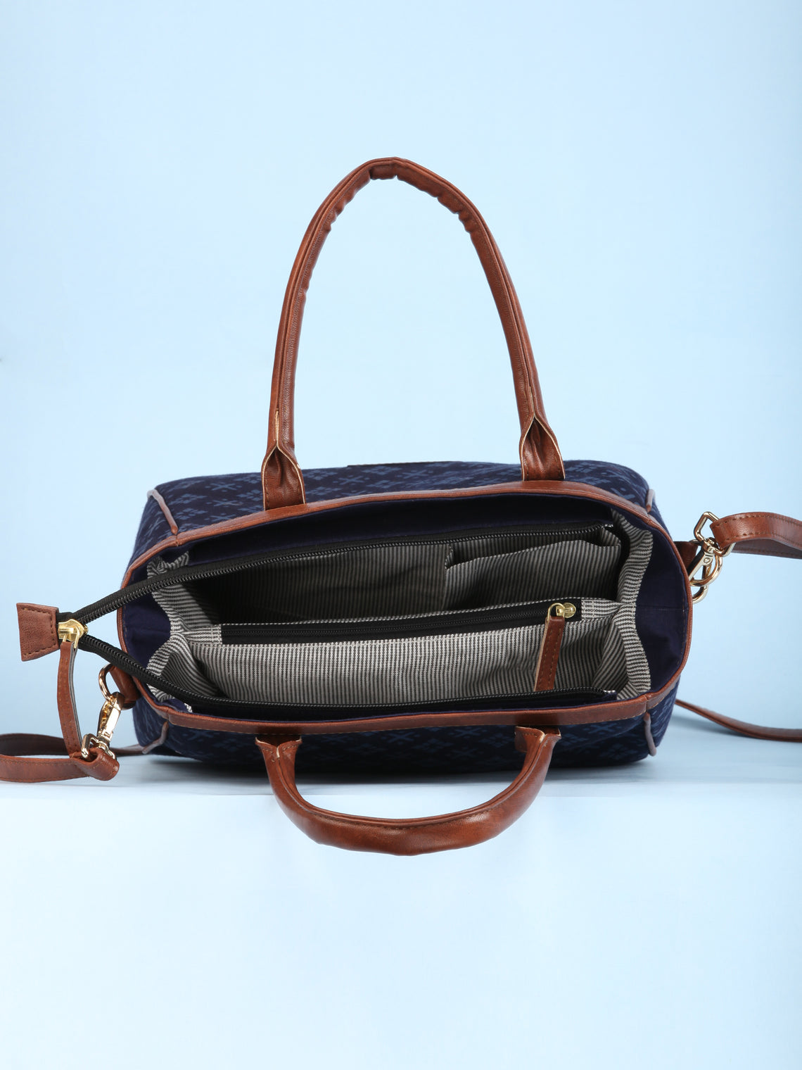Navy Blue Hand Block Printed Vegan Leather Bucket Style Hand Bag - B1509