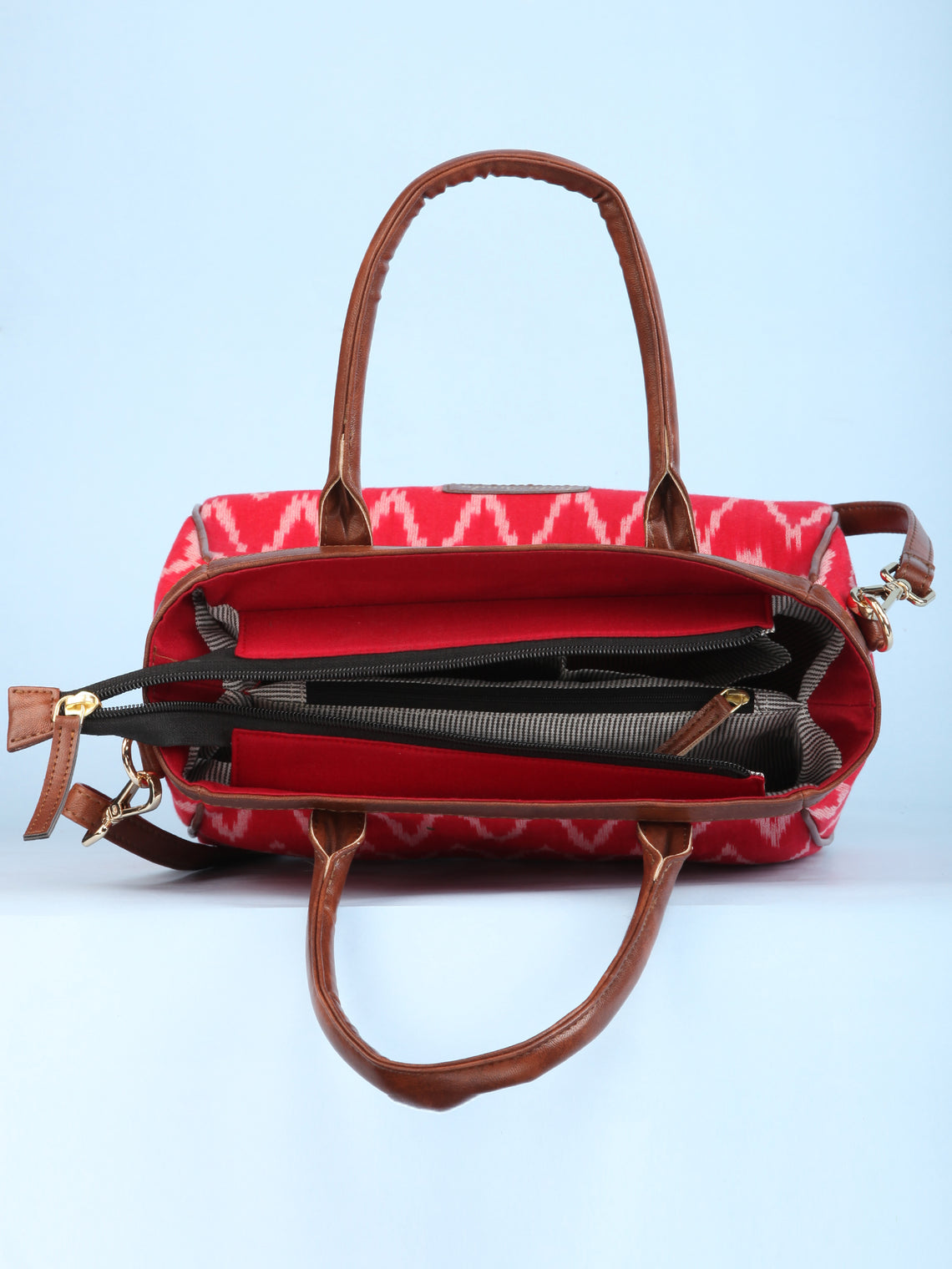Red Ikat & Vegan Leather Bucket Style Hand Bag - B1505