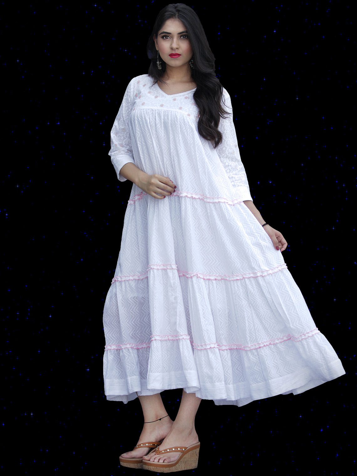 Chandni Sumnah - Cotton Dobby Tiered Long Dress With Embroidery  - D445FP01