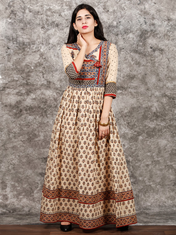 Beige Red Blue Brown Hand Block Printed Cotton Long Angrakha Dress   - DS56F001