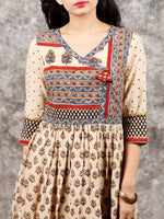 Naaz Beige Red Blue Brown Hand Block Printed Cotton Long Angrakha Dress   - DS56F001