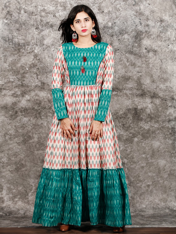 White Teal Green Wine Hand Woven Ikat Princess Cut Long Tier Dress - D175F1277