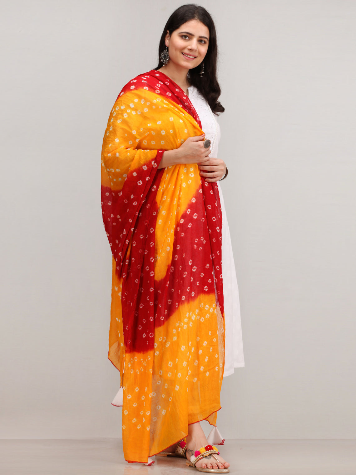 Noor Fariba - Self Emboss Work ALine Kurta Pant Set With Bandhini Dupatta - KS116AXXD10