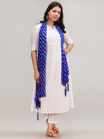 Noor Foziya - Self Emboss Work ALine Kurta Pant Set With Leheriya Dupatta - KS116AXXD11