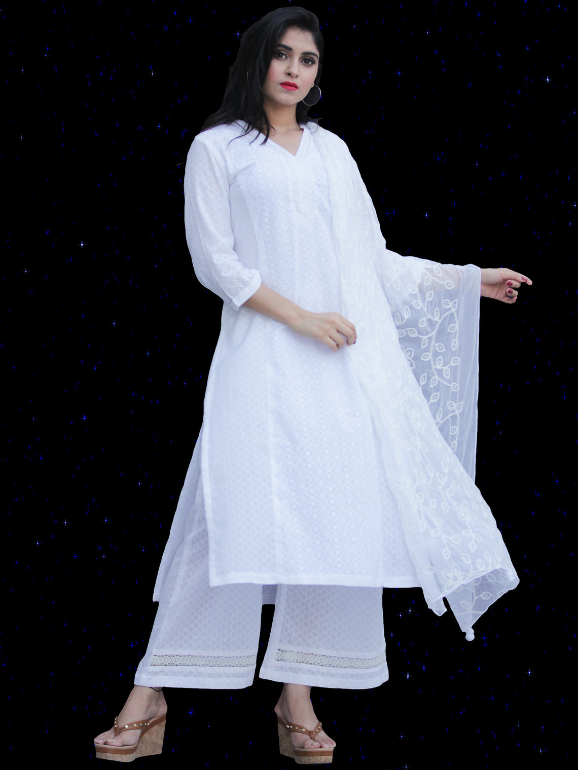 Chandni Madiha - Cotton Kurta Palazzo Set With Embroidered Chiffon Dupatta - KS40SFP05BWD