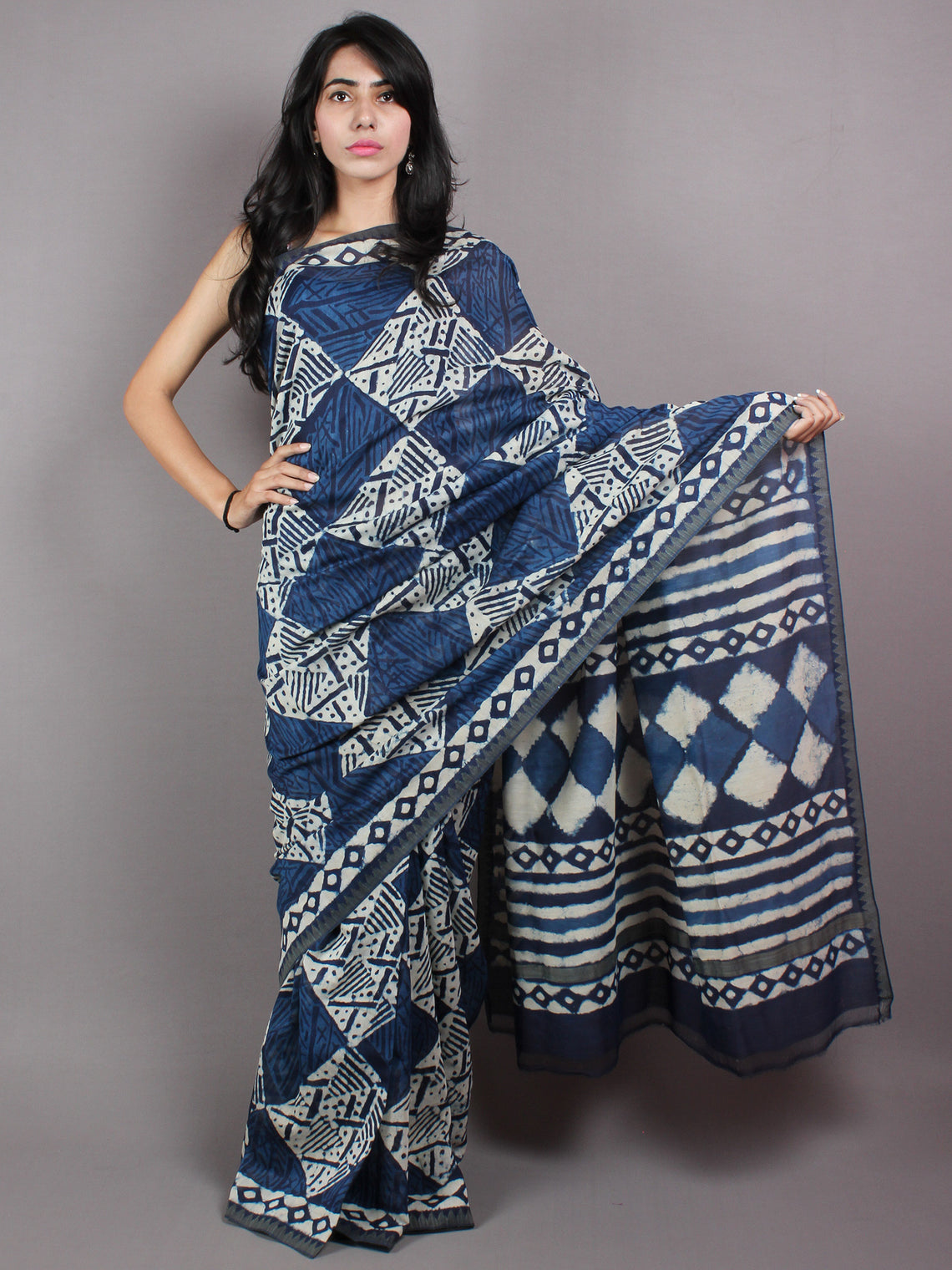 Indigo Hand Block Printed With Natural Colors Chanderi Saree with Geecha Border - S03170406