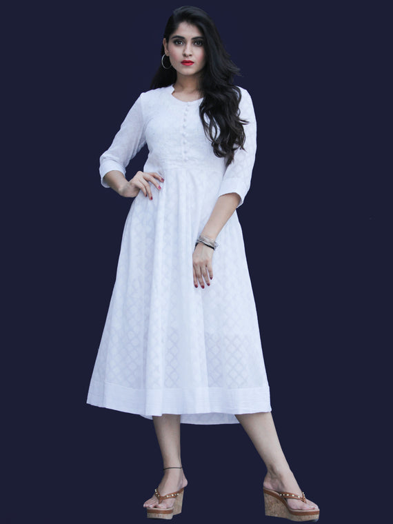 Chandni Karen - Cotton Dobby Kalidaar Dress - D450FP05