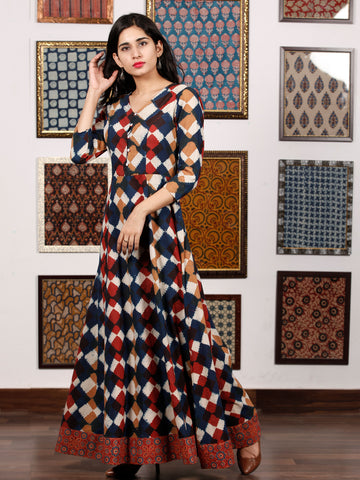 Indigo White Brown Maroon Hand Block Printed Long Cotton Dress With Back Knots - D162F1321