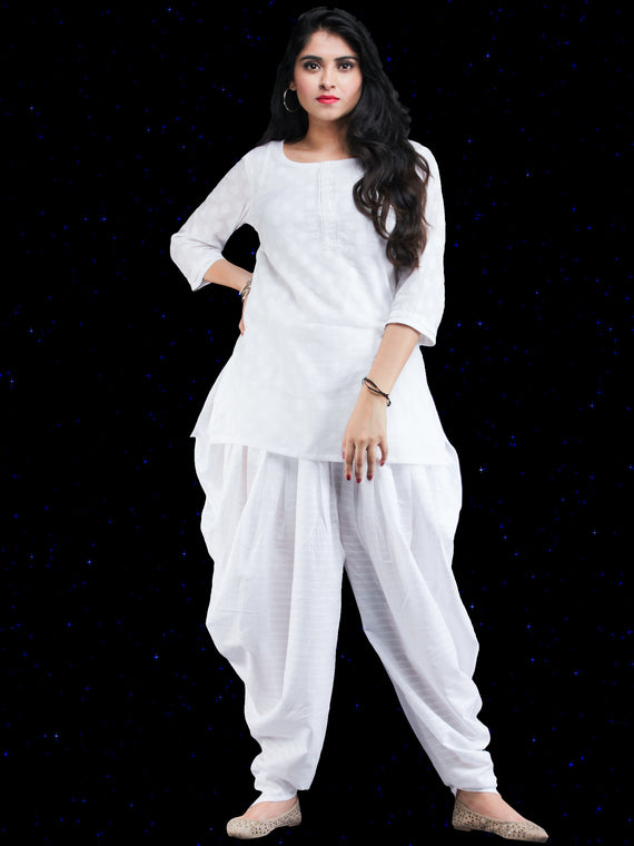 Chandni Safed - Cotton Top Dhoti Pants Dress Set - D451FP06