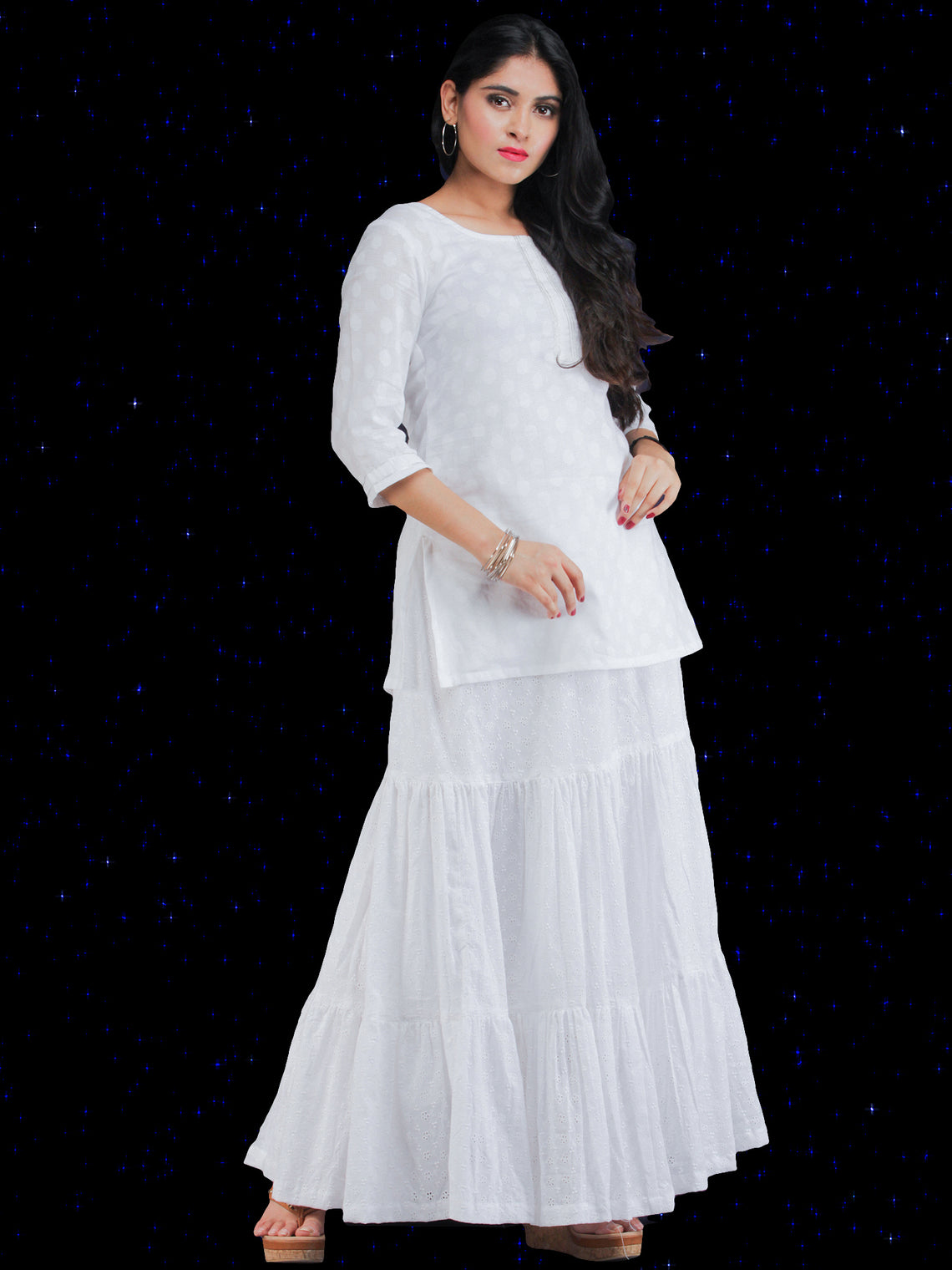 Chandni Sameera - Cotton Top Skirt Dress Set - D452FP07