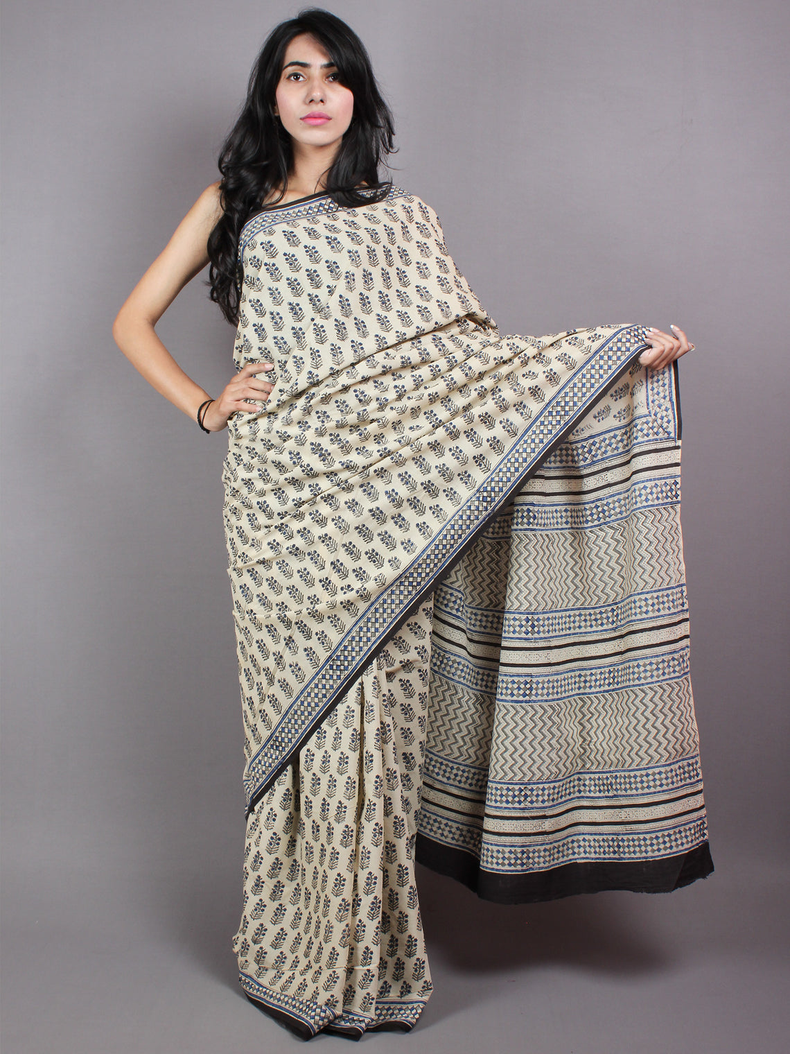 Ivory Blue Cotton Hand Block Printed Saree - S03170407