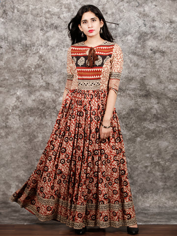Beige Maroon Black Hand Block Printed Long Cotton Dress with Tassels - DS02F003