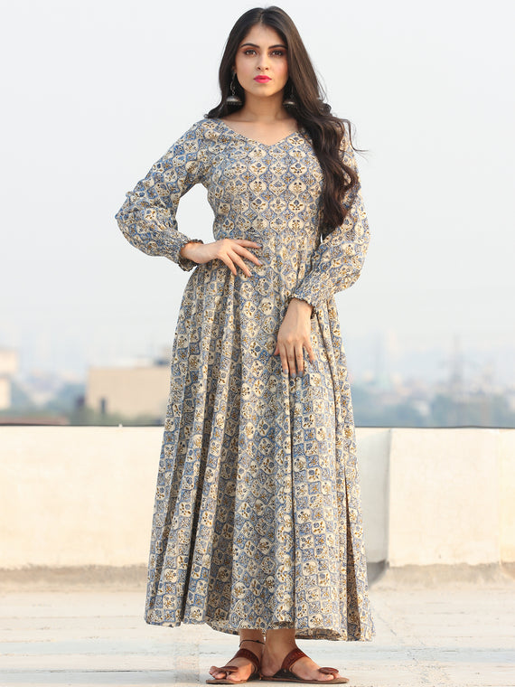 Gulzar Ersheen - Urave Cut  Hand Block Printed Dress With Deep Neck - D457FYYY