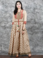 Naaz Farzaan - Beige Rust Green Peanut Brown Hand Block Printed Long Cotton  Dress With Hand Made Tassel - DS54F001