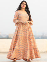 Gulzar Fawha -  Block Printed Tiered Long Dress - D456F2290