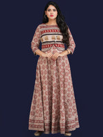 Naaz Safreen - Hand Block Printed Long Embroidered Jacket Dress - DS113F001