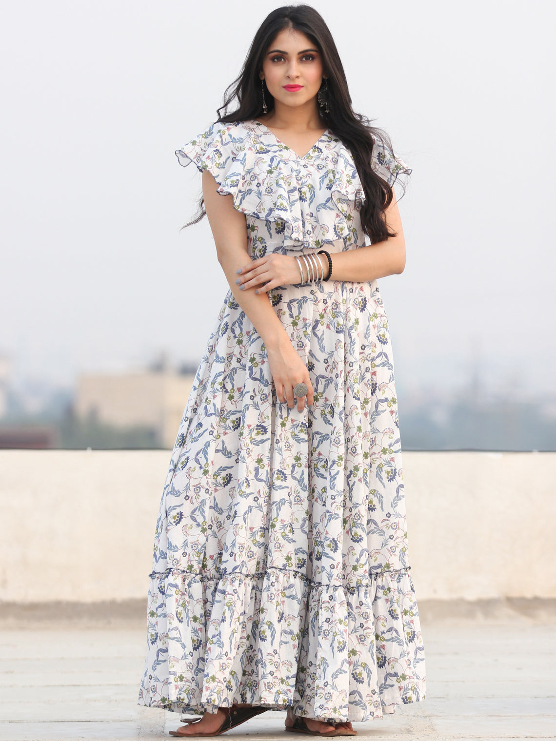 Gulzar Shamaa - Dress - Block Printed Frill Neck Long Dress D455F2291