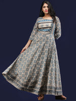 Naaz Padmani - Hand Block Printed Long Embroidered Jacket Dress - DS114F001