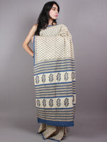 Ivory Blue Cotton Hand Block Printed Saree - S03170408